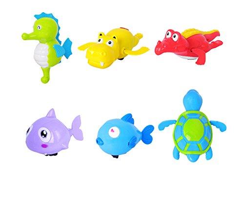 Dsaren Baby Badespielzeug Wind Up Badewanne Schwimmbecken Meerestier Spielzeug Wasserspielzeug für Kinder (6 Pack)