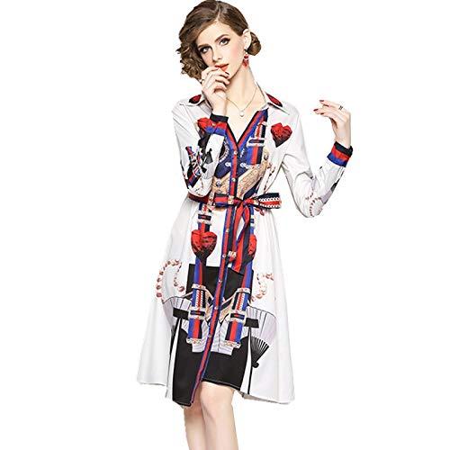 Blau Gestreifte Button-down-shirt (QUNLIANYI Kleider Lang Vintage Gedruckte Gestreifte Partykleid Weibliche Elegante V-Ausschnitt Lace-Up Bow Gürtel Button Down Shirt Kleider Unregelmäßige M)