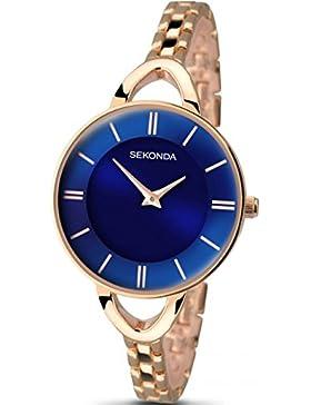 Sekonda Editions Damen Armband Dünn Blau Sonnenstrahl Zifferblatt Armbanduhr Rose Gold Ton 2284