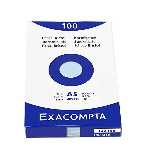 Exacompta 13318B Packung (mit 100 Karteikarten, ungelocht DIN A5, 148 x 210 mm, 205 g, blanko, ideal für die Schule) 1er Pack azurblau