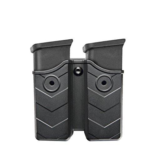 efluky Verstellbar drehbar Doppel-Magazintasche, Glock/H&K/Ruger/Sig Sauer/Springfield/Taurus/Beretta/CZ/Walther/Colt/Kel Tec/Smith&Wesson Magazinhalter mit Gürtelclip für 9mm/.40 cal -