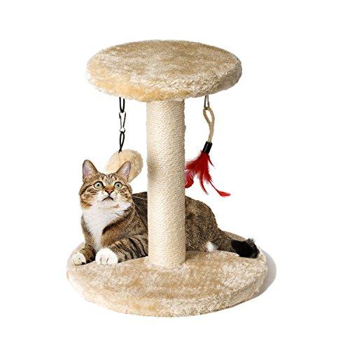 Kratzsäule und Spielzeug-Ball für kleine Katzen Zubita Kratzbaum mit Bodenkratzplatte, Kratzsäule, Plüsch Spielzeug-Ball und Kuschel Lounge-Plattform für kleine Katzen