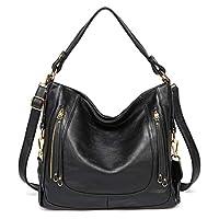 Hobo Bag for Women, Kasgo Fashion PU Leather Handbag Large Shoulder Bag Tote Bag for Ladies Work Daily Use with Detachable Shoulder Strap Black