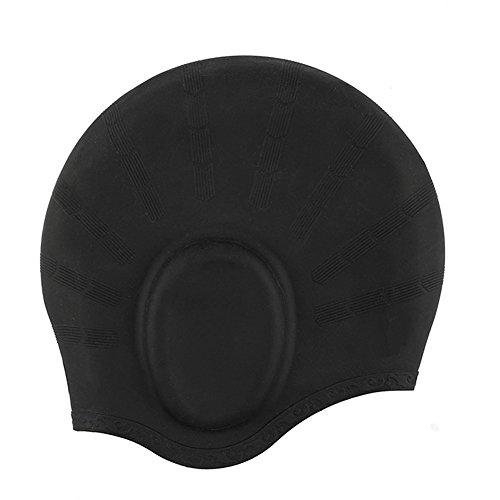 Badekappe Für Lange Haare,YOBOKO Wasserdicht zu schützen Silikon Badekappe Schwimmkappe für Damen und Herren inklusive kostenloser Nasenklammer inkl Schutzhülle und Ohrenstöpsel (Black01)