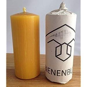 2 Stück Kerzen, 12 x 5 cm, Stumpenform, aus 100% Bienenwachs, handgemacht, direkt vom Imker aus Deutschland, Bayern, von der Bienenbude