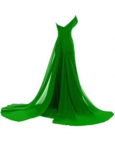 Sunvary Fashion abiti da sera o da una spalla in Chiffon, lunga, con scritta Mother of the Bride Verde