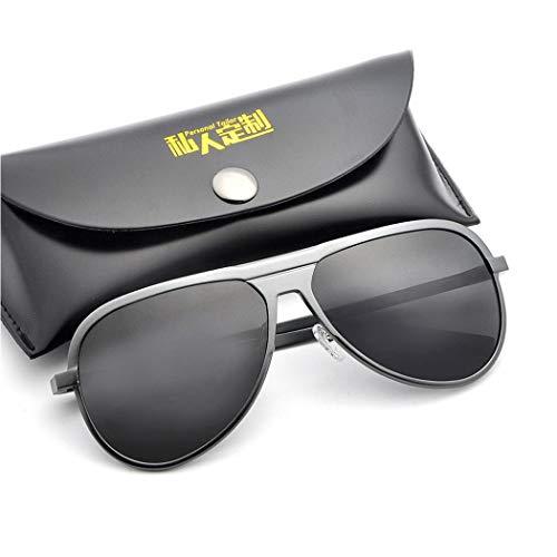 HONGNA Aluminium-Magnesium-Rahmen Bunte Sonnenbrille Polarisierte Männer Und Frauen Sonnenbrille Ultraleichte Brille Full-Frame-Geschenk-Box (Farbe : Gray Frame Black)