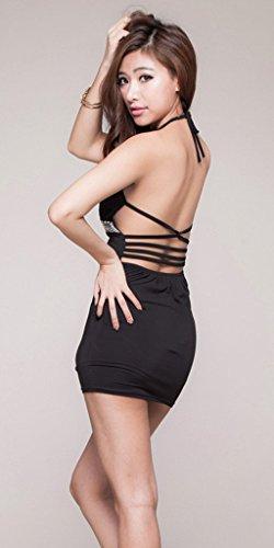 Smile YKK Femme Robe Pyjama Nuisette Sous-vêtement Sexy Lingerie Badydoll Noir