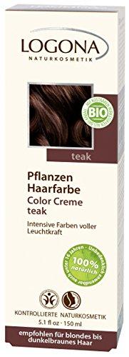 LOGONA Naturkosmetik Coloration Pflanzenhaarfarbe, Color Creme - 230 Teak - Braun, Natürliche & pflegende Haarfärbung (150g)