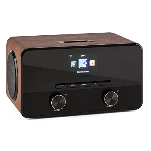 TESTURTEIL: SEHR GUT auna Connect 100 WN • Internetradio • Digitalradio • WLAN-Radio • Bluetooth • AUX • USB • 2 Breitbandlautsprecher • Wecker • Farbdisplay • Dimmfunktion • Holzfurnier • walnuss (Wecker Wifi Bluetooth)