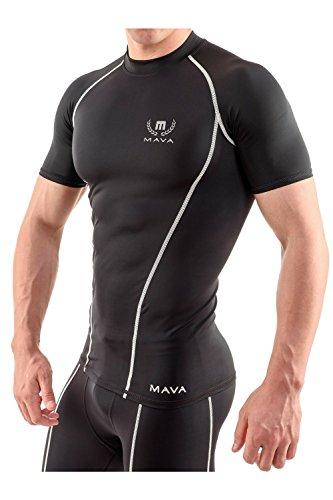 Kurzärmeliges Kompressions-Shirt von Mava., schwarz / silber (Freiheit-golf-shirt)