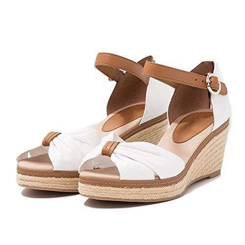 Damen Sandalen Keilabsatz Espadrilles Offen Zeh Slingback Leinwand Knöchelriemen Sommerschuhe mit Bogen Mid Heels Schuhe
