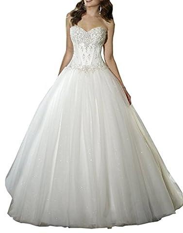 Ebelz Robe de mariée en dentelle sweetheart dentelle longue nuptiale robe de bal de la femme