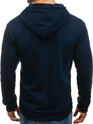 BOLF Herren Kapuzenpullover Sweatshirt Hoodie Pullover Classic Einfarbig 1A1 Dunkelblau