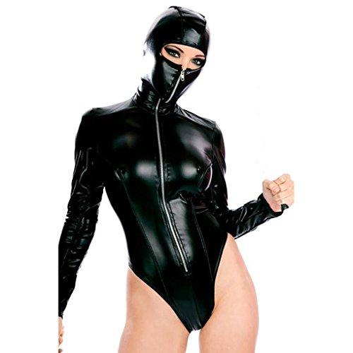 Mirlun Damen Maskiert Leder Zip Catsuit Lange Ärmel Bodysuit (Maskierte Party Kostüme)