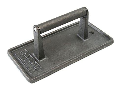 Charcoal Companion Rechteckige Grillpresse, 8.99 x 11.3 x 22.4 cm, schwarz, CC5024 Cast Iron Tortilla
