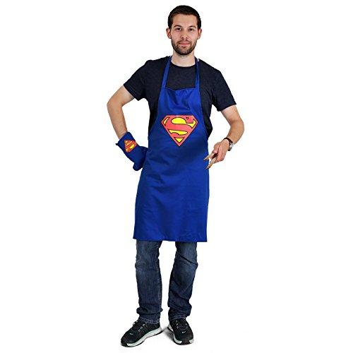 Superman Grillschürze Grillset Logo Kochschürze mit Handschuh im Dekoglas Küchenset DC (Kostüme Collector Superman)
