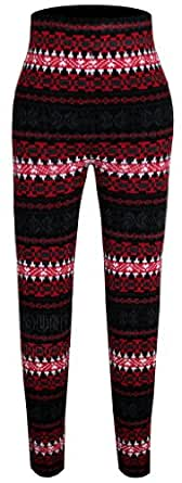 Ladies Womens Warm Stretch Full Knitted Nordic Aztec Fashion Designer Leggings Size 8 10 12 14 16 18 (16-18 (Large/XL), Black & Red)