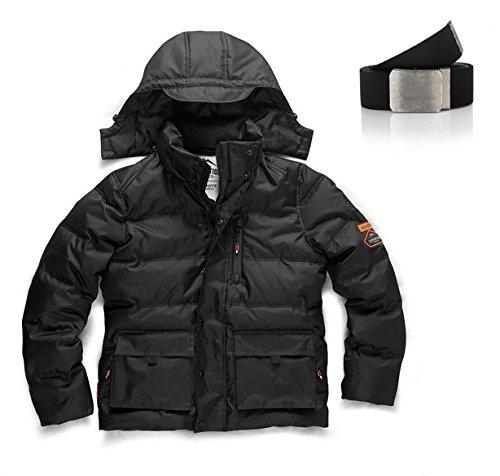 Scruffs Expediton Bubble Jacket, gepolsterte, abnehmbare Kapuze gratis Gürtel Gr. xl, Schwarz - Schwarz (Kapuze Bubble Jacket)