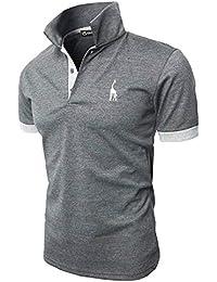 GHYUGR Polos Manga Corta Hombre Bordado de Ciervo Camisas Slim Fit Camiseta  Deporte Golf Poloshirt Verano a3745e8b75fd0