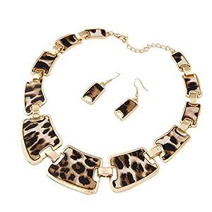 Art- und Weisegoldtonart-Leopardkorn-Halskette,Leopard-Halsketten-hängender Ohrring-Satz für Frauen, Legierungs-Harz 17.5 + 3In, für Partei-Strand-Reise-tägliche Abnutzung