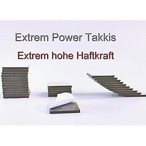Extreme Power Takkis - Piastre magnetiche autoadesive, 20 x 20 x 2 mm, 50 pezzi