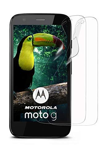 moex 2X Motorola Moto G | Schutzfolie Klar Display Schutz [Crystal-Clear] Screen Protector Bildschirm Handy-Folie Dünn Displayschutz-Folie für Motorola Moto G 1. Generation Displayfolie G1 Handy