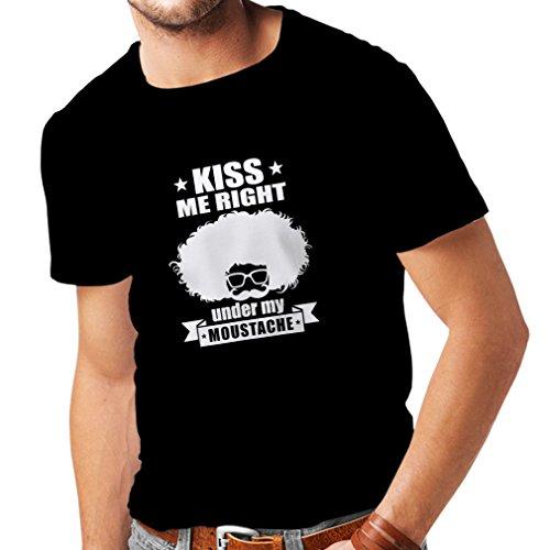 lepni.me N4268 Männer T-Shirt Küssen Sie mich direkt unter meinem Schnurrbart (XX-Large Schwarz Weiß)