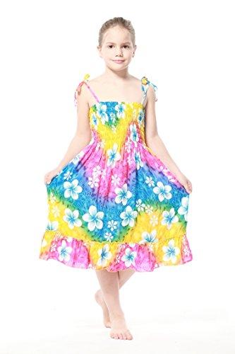 Nia-Elstico-Ruffle-Hawaiian-Luau-vestido-en-Arco-iris-floral-en-azul-6-mes