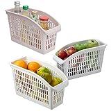 4 Adet Buzdolabı İçi Düzenleyici Sepet Beyaz Ve Şeffaf Renkli Dolap İçi Organizer Düzenleyici (Plastik)