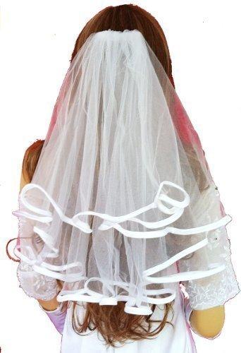 ladyMYP© 2lg Wunderschöner Brautschleier mit Satinkante, 40/50 cm, weiß