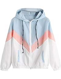 Saingace Women Girls Long Sleeve Patchwork Thin Hoodies Sweatshirt Sport Running Hooded Pullover Tops Blouse
