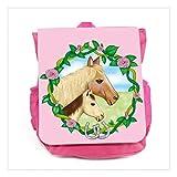 Wandtattoo-Loft Kinder Rucksack Pferde im Blumenkranz – Mädchen – Rosa