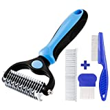 Yorgewd 4 Pack Pet Grooming Tool Kit for Dogs and Cats - Double Sided Grooming Rake + Dematting Comb + Tear Stain Remover Combs + Flea Comb - Stainless Steel
