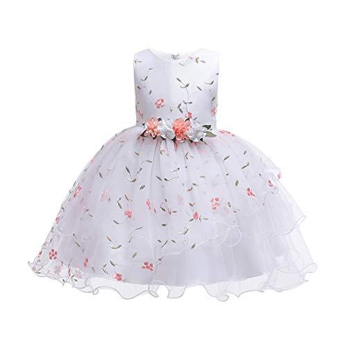 e Tutu Kleider Prinzessin Pageant Flower Petals Bow Kleid Kinder Prom Ballkleid Chiffon Brautkleider für 2-14 Jahre ()