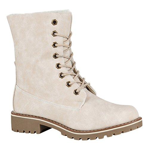 Gefütterte Damen Worker Boots Outdoor Stiefeletten Schuhe 148899 Creme Matt 39 Flandell