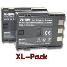 vhbw 2x Li-Ion Batteria 600mAh (7.2V) per foto video camera Canon Legria HF R16, HF R17, HF R18, HG10, HV20, HV30, HV40, MD110 sostituisce NB-2L.