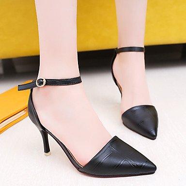 LvYuan Da donna Sandali PU (Poliuretano) Primavera Estate Fibbia A stiletto Nero Giallo Rosso 7,5 - 9,5 cm Black