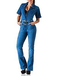 24brands Damen Jeans Overall mit Schlag Jumpsuit Sommer Boot Cut Einteiler kurzarm mit Gürtel - 3085