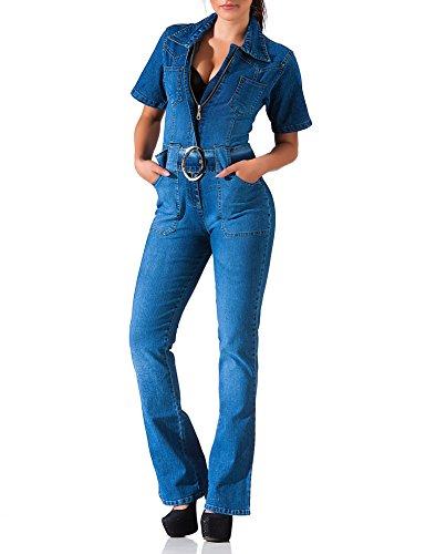 CHICK REBELLE 24brands Damen Jeans Overall mit Schlag Jumpsuit Sommer Boot Cut Einteiler Kurzarm mit Gürtel - 3085, Größe:XL;Farbe:Blau