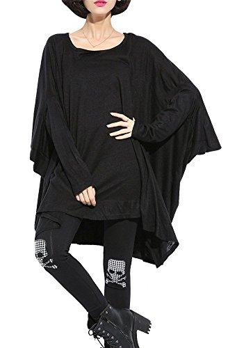 tres-chic-mailanda-damenm-schwarz-asymmetrisch-langarm-fledermaus-sweatshirt-einheitsgrosse