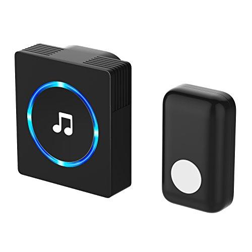 Campanello senza fili, jetech funk kit campanello plug-in pulsante con indicatore led, eu version portatili (nero) - 2127b