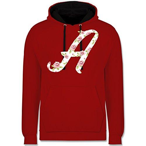 Anfangsbuchstaben - A Rosen - Kontrast Hoodie Rot/Schwarz