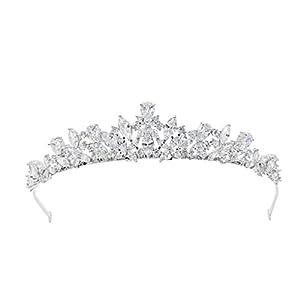 SEPBRIDALS Full Zirkonia Hochzeit Brautschmuck Tiara Krone Classic Frauen Haar-Accessoires Schmuck HG0056