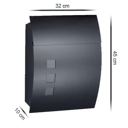 Designer Briefkasten Schwarz | Postkasten Mailbox Zeitung | Design mit satinierten Sichtfenstern. Inkl. Montagematerial & 2 Schlüssel! - 4