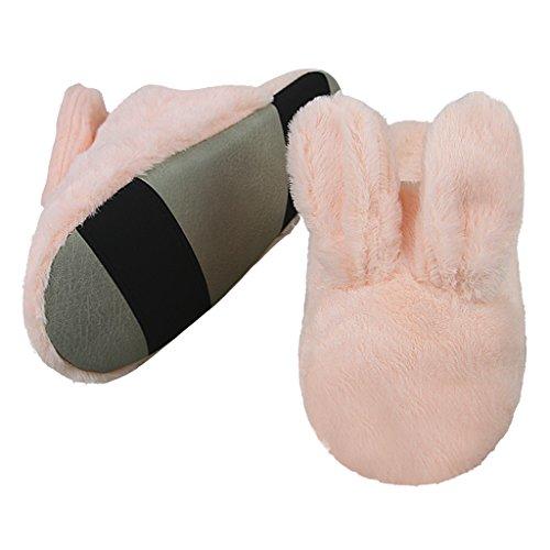 Weiche Plüsch Hausschuhe Liebespaar Pantoffeln Slippers mit Cartoon Kaninchen für Winter Herbst Frühling,Pink Pink