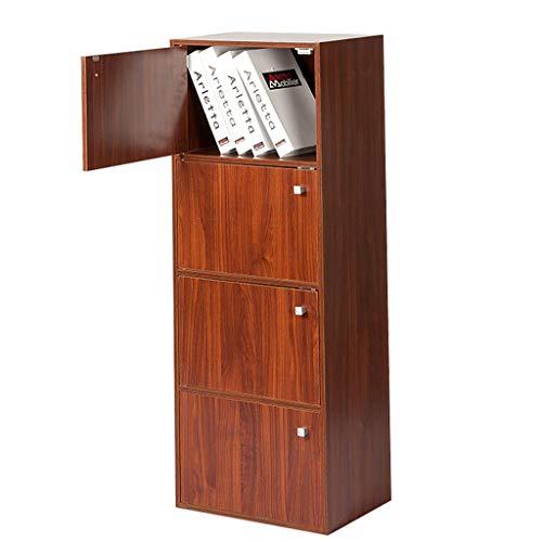 Bücherregal-Ablagefächer 4-Tier Multifunktionale Ablagen Regale Holzoptik Akzent Moderne Möbel Home Office, Farbe Rotnussbaum/Eiche