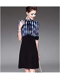 kekafu La mujer va un vestido de línea,bloque de color rayas situarse por encima