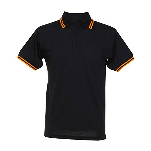 Kustom Kit - Tipped Piqué Retro-Poloshirt Black/Orange
