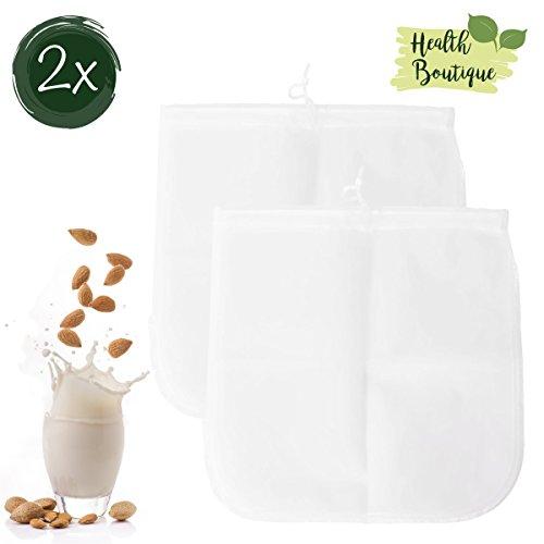 2x Nussmilchbeutel   Passiertuch   Filterbeutel Set für vegane Milchalternativen wie Nussmilch, Mandelmilch, Frucht-/Gemüsesaft und Smoothies   Health Boutique